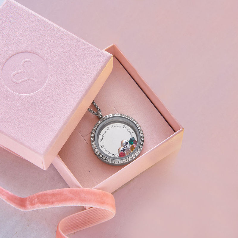 "Engraved Floating Charms Locket - ""For Mom or Grandma"" - 5"