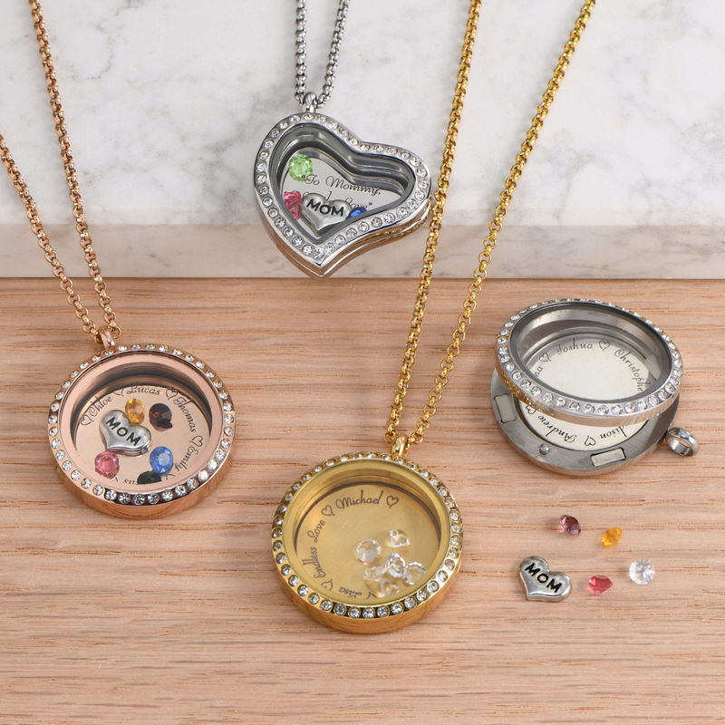 "Engraved Floating Charms Locket - ""For Mom or Grandma"" with Gold Plating - 2"
