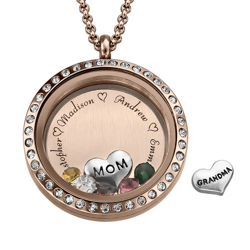 "Engraved Floating Charms Locket with Rose Gold Plating - ""For Mom or Grandma"""