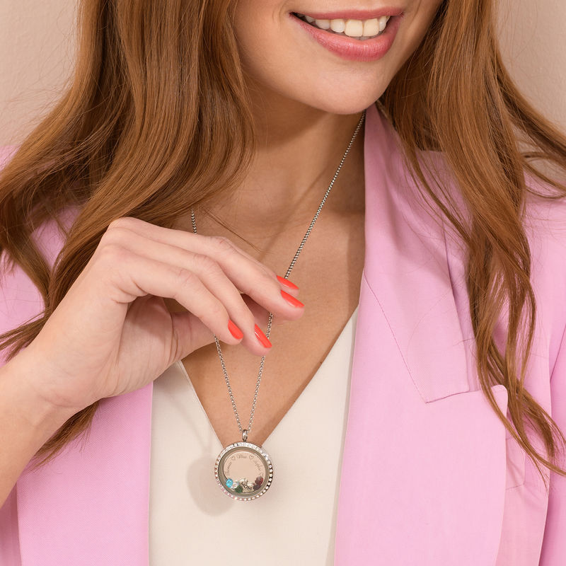 """Engraved Floating Charms Locket with Rose Gold Plating - """"For Mom or Grandma"""" - 1"""