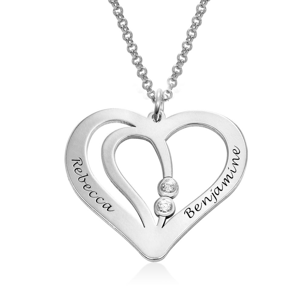 Engraved Couples Necklace in Sterling Silver with Diamond