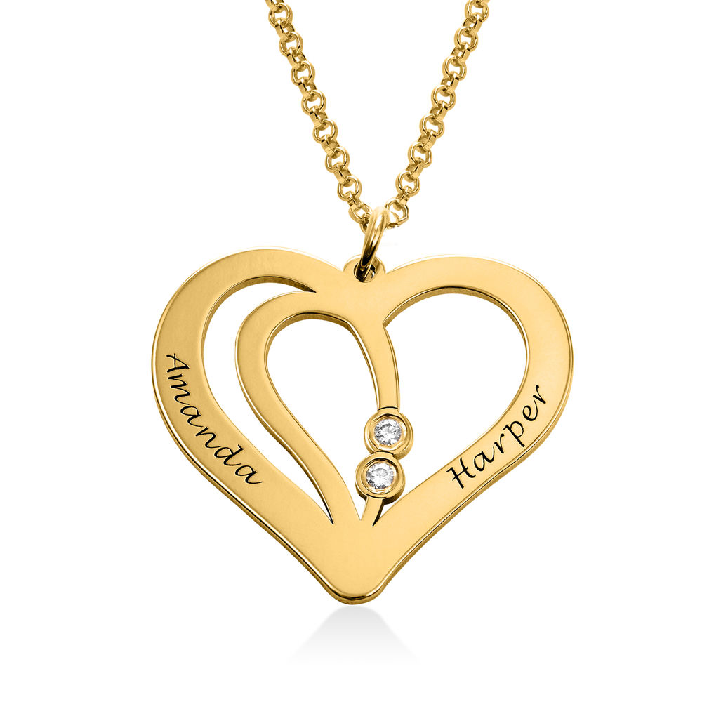 Engraved Couples Necklace in 18k Gold Plated with Diamond