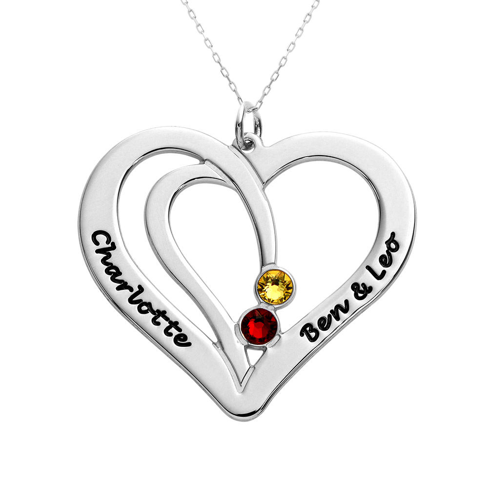 Engraved Couples Birthstone Necklace in 10K White Gold