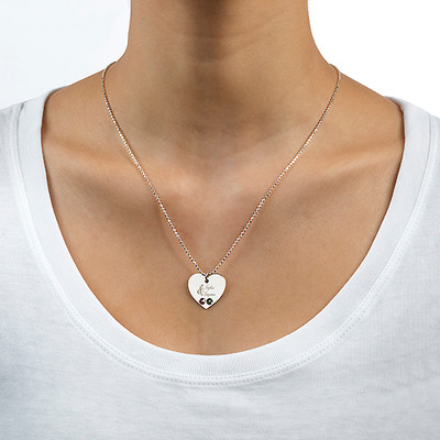 Couples Birthstone Heart Necklace with Engraving - 1