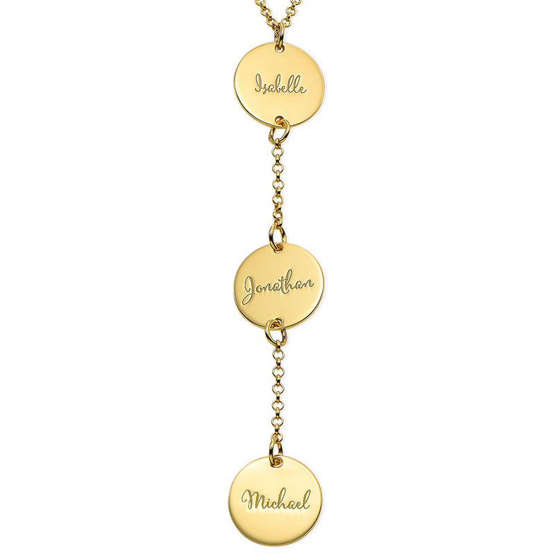 Personalized Y Necklace in Gold Plating