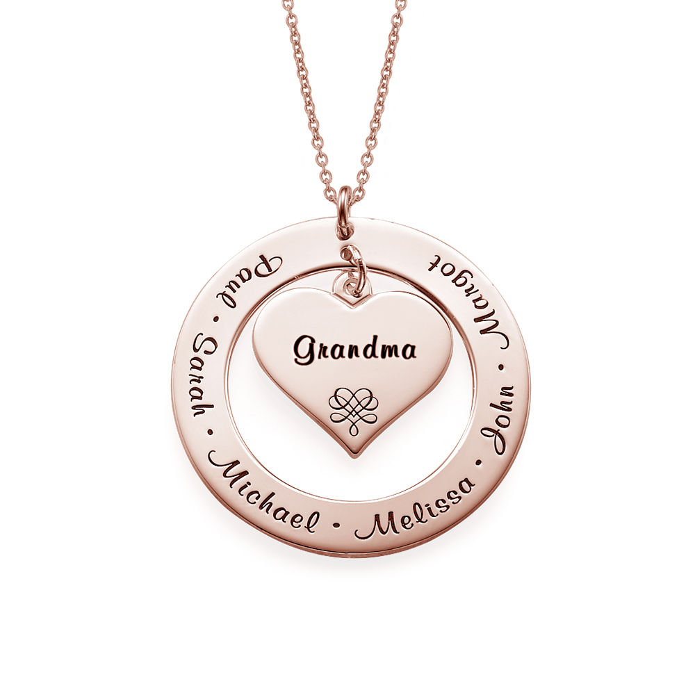 Grandmother / Mother Necklace with Rose Gold Plating