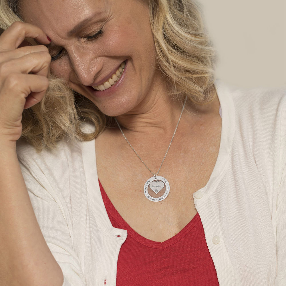 10K White Gold Grandmother / Mother Necklace - 3