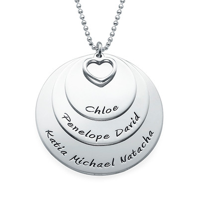 Mom Necklace with Three Personalized Discs