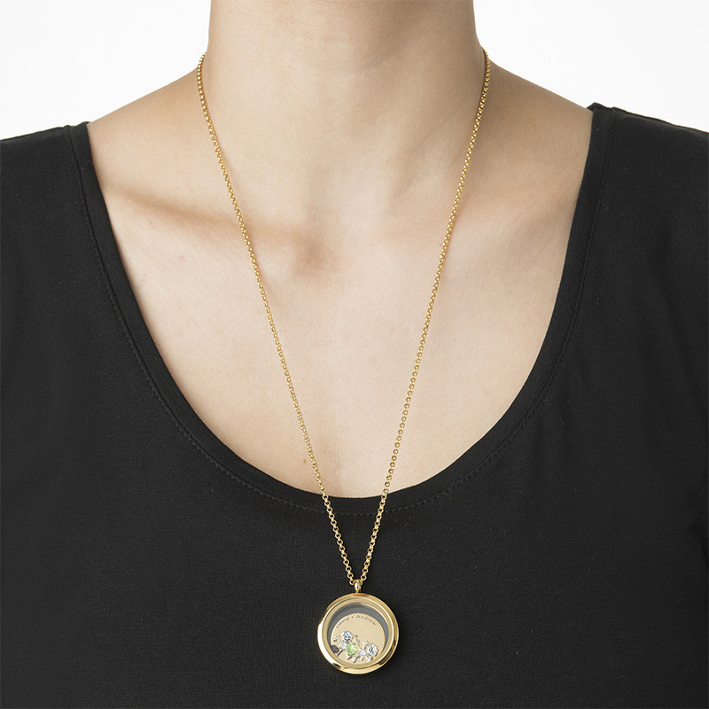 Floating Locket for Mom with Children Charms - Gold Plated - 2