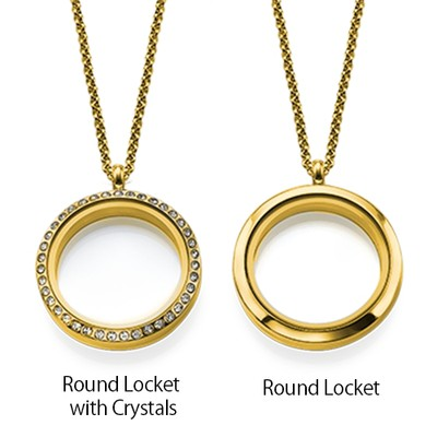 Floating Locket for Mom with Children Charms - Gold Plated - 3