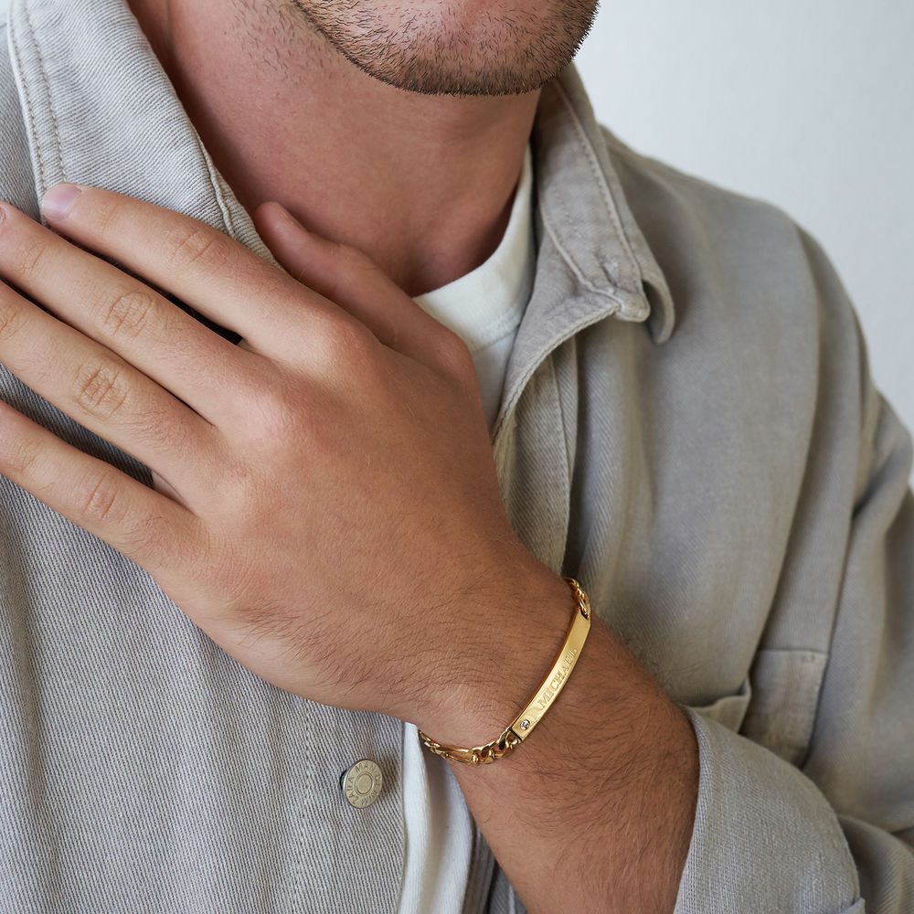 ID Bracelet for Men in Gold Plated with Diamond - 2