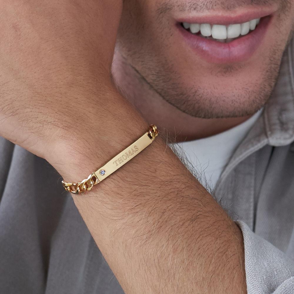 ID Bracelet for Men in Gold Vermeil with Diamond - 2