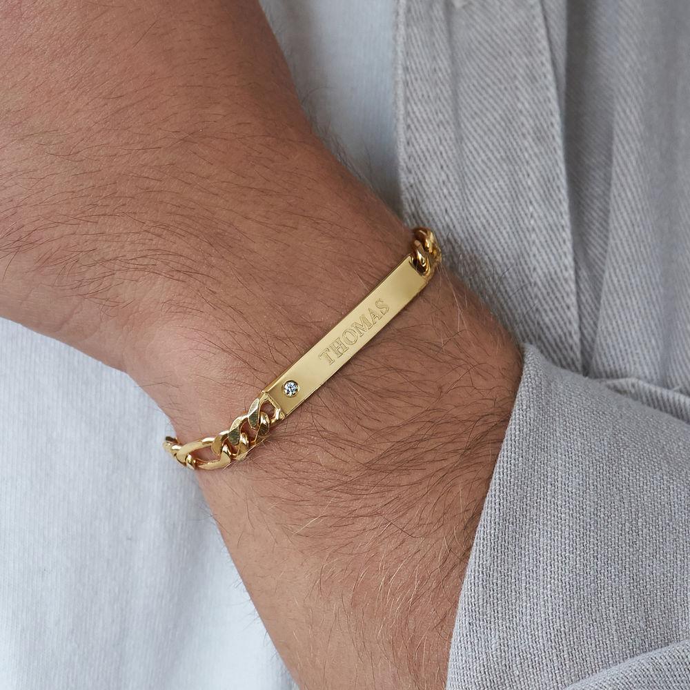 ID Bracelet for Men in Gold Vermeil with Diamond - 3