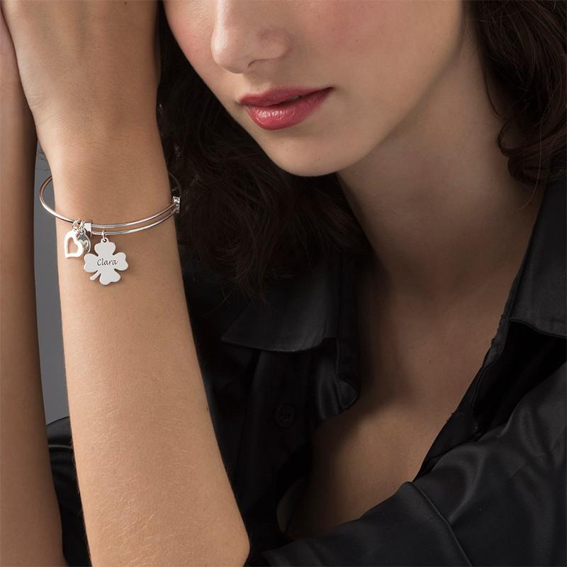 Bangle Charm Bracelet with Clover - 1