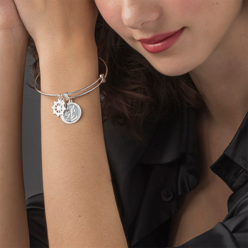 Bangle Bracelet with Anchor Charm - 2