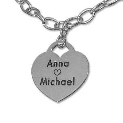 Silver Charm Heart Bracelet - 1