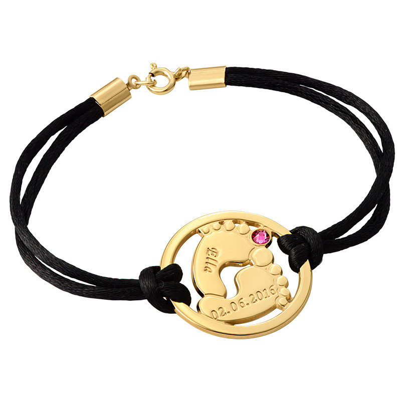 Cut Out Baby Feet Bracelet with Gold Plating