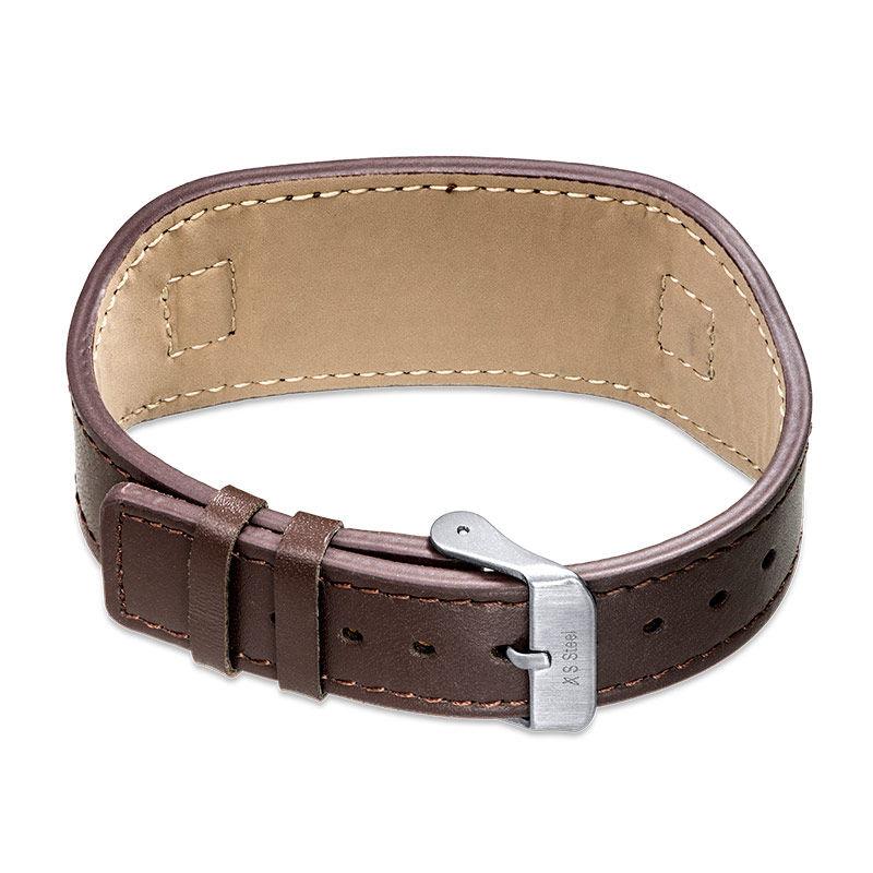 Men's ID Bracelet in Brown Leather - 2