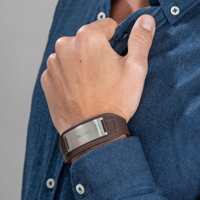 Men's ID Bracelet in Brown Leather - 4