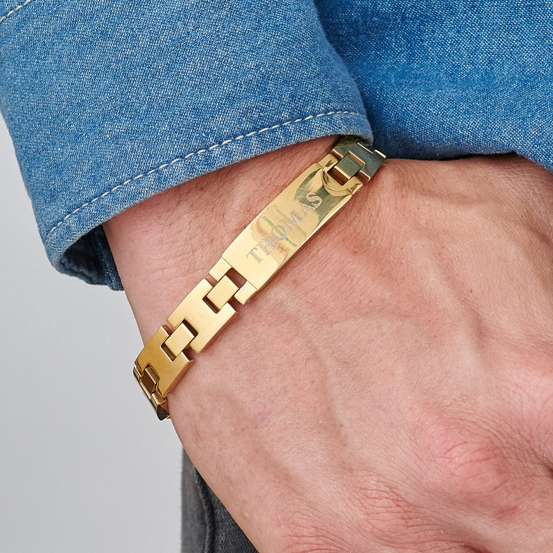 Gold Plated Stainless Steel Men's Bracelet with Engraving - 2
