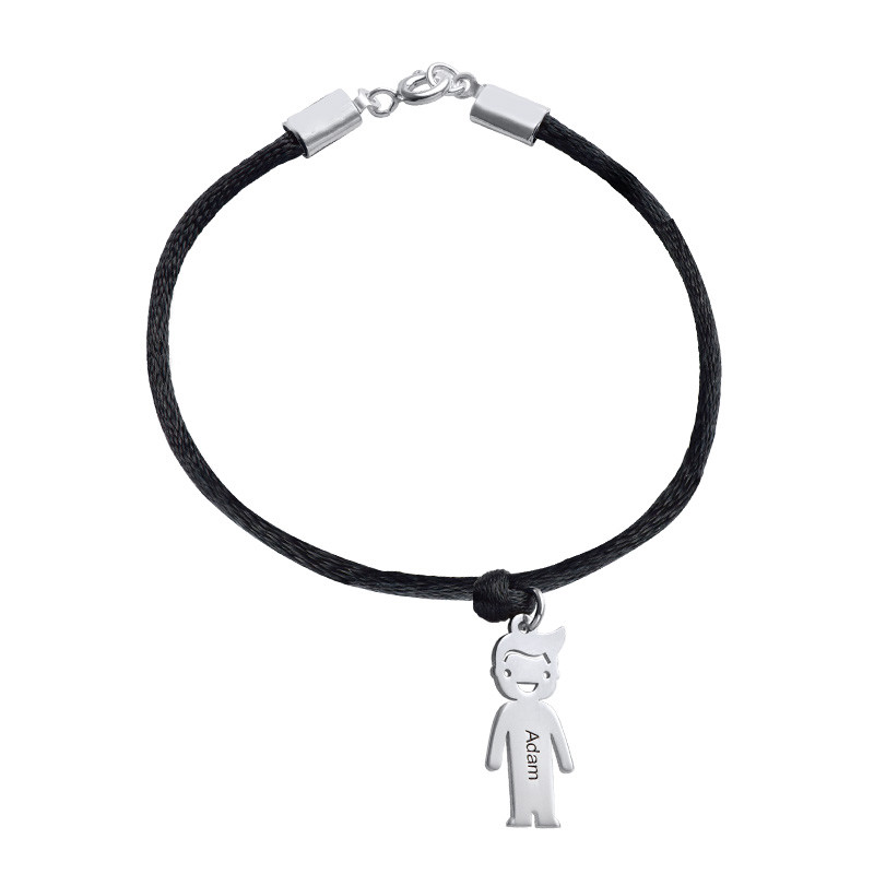 Silver Mothers Bracelet with Engraved Children Charms - 1