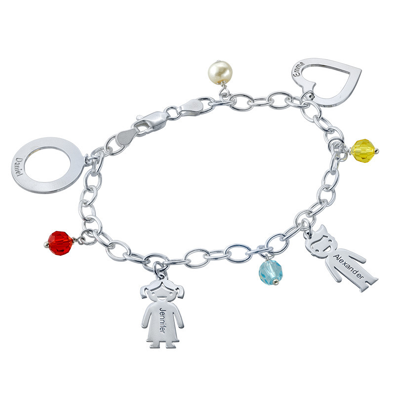 Sterling Silver Mother's Charms Bracelet