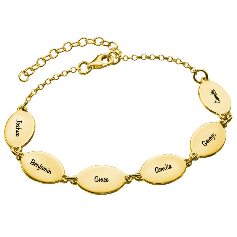 Gold Vermeil Mom Bracelet with Kids Names - Oval Design