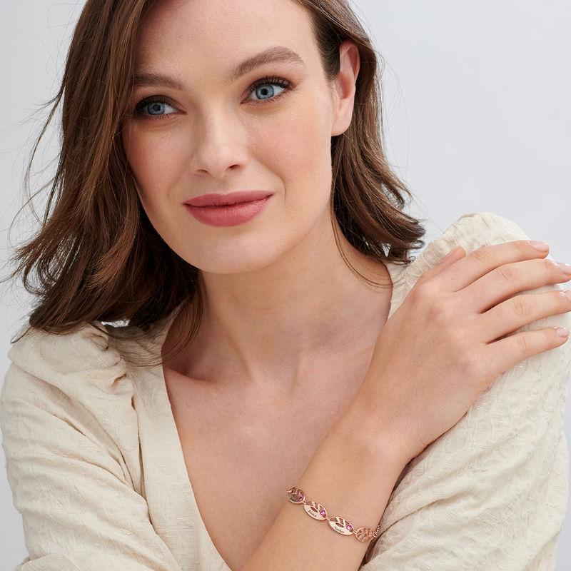 Mother Leaf Bracelet with Engraving in Rose Gold Plating - 1