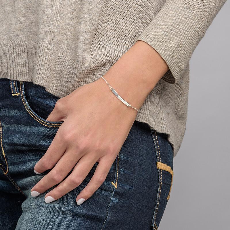 Skinny Custom Bar Bracelet in Silver - 2