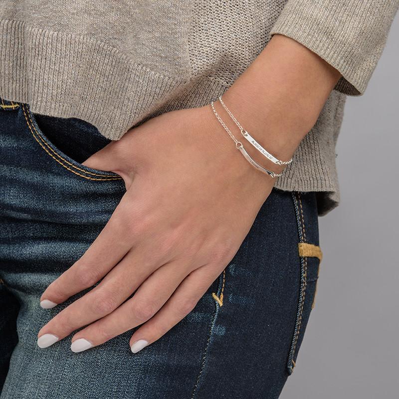 Skinny Custom Bar Bracelet in Silver - 3