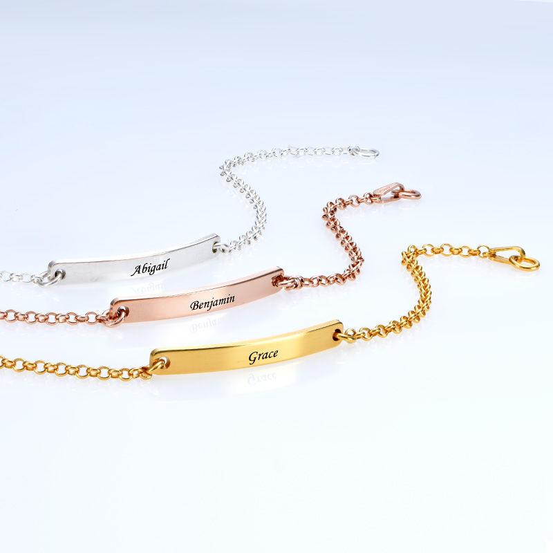Skinny Custom Bar Bracelet in Silver - 4