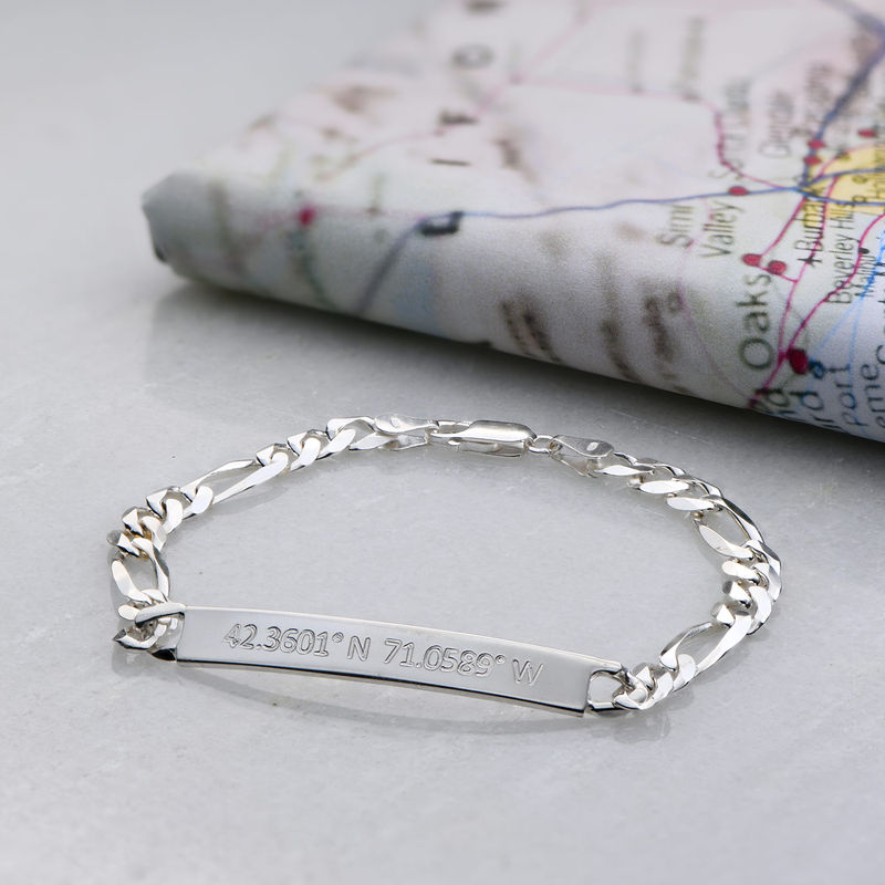 Cuban Curb Coordinates Bar Bracelet for Men in Sterling Silver - 2