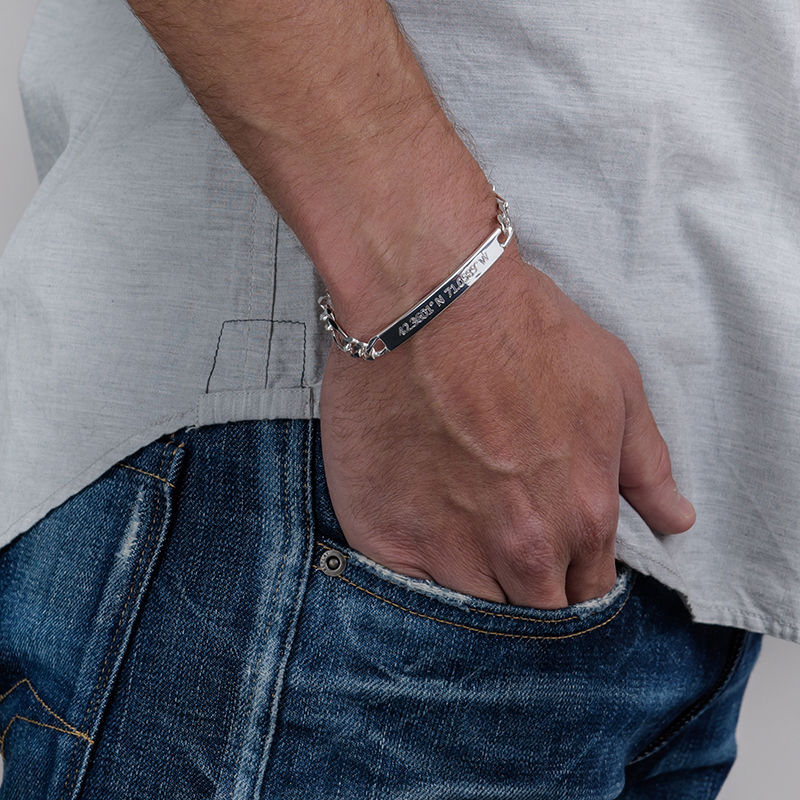 Cuban Curb Coordinates Bar Bracelet for Men in Sterling Silver - 3