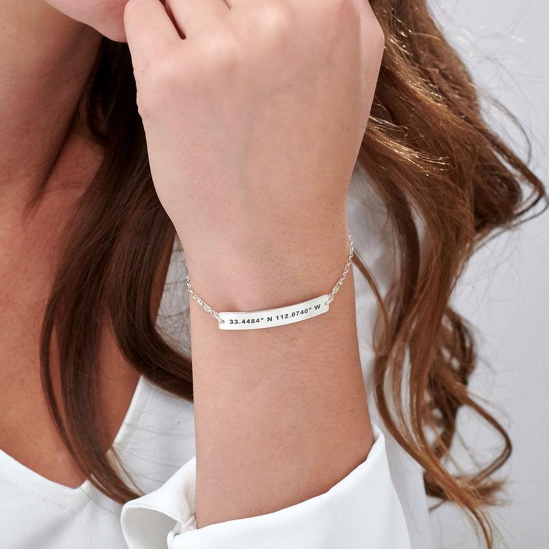 Custom Coordinates Bracelet in Silver - 4