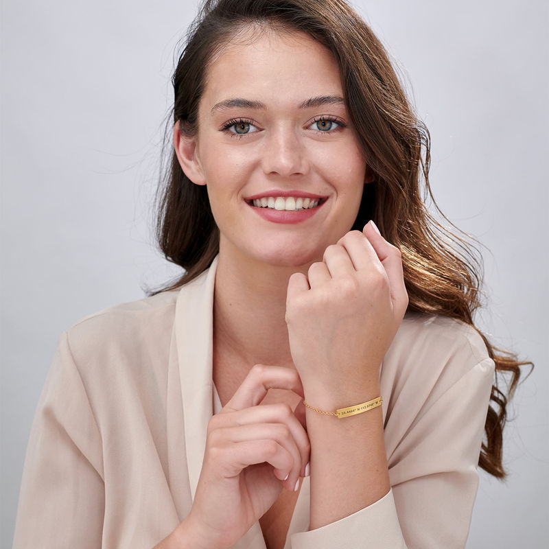 Custom Coordinates Bracelet in Gold Plating - 3