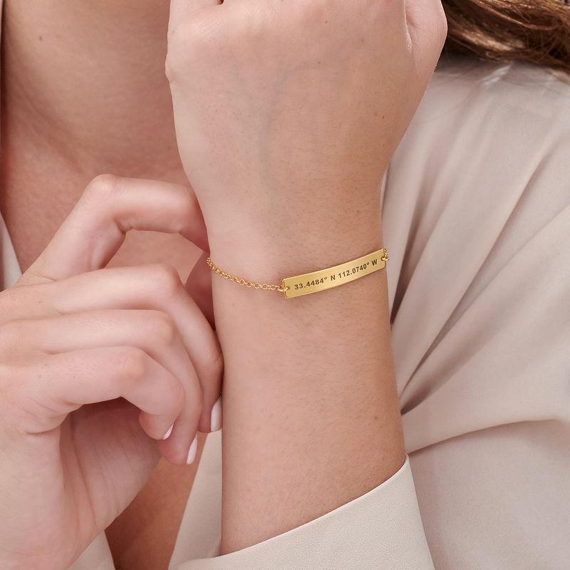 Custom Coordinates Bracelet in Gold Plating - 4