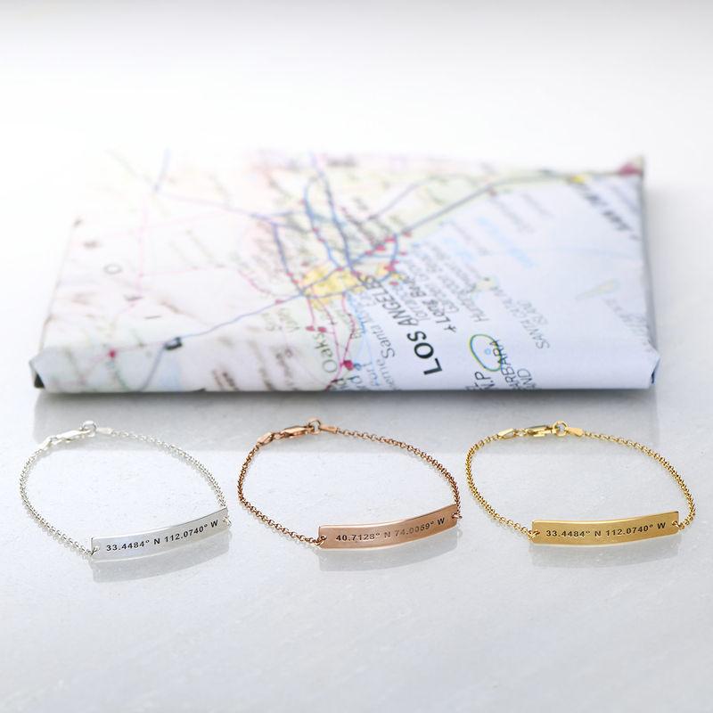 Custom Coordinates Bracelet in Rose Gold Plating - 2