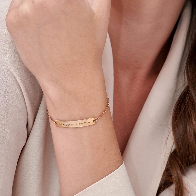 Custom Coordinates Bracelet in Rose Gold Plating - 4