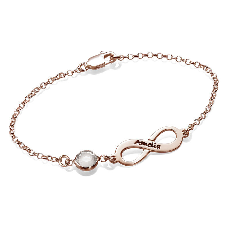 Infinity Birthstone Bracelet in Rose Gold Plating