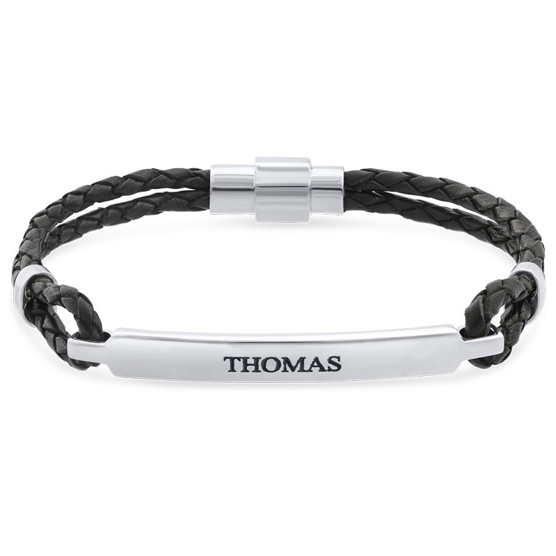 ID bracelet for Men in Stainless Steel and Black Leather