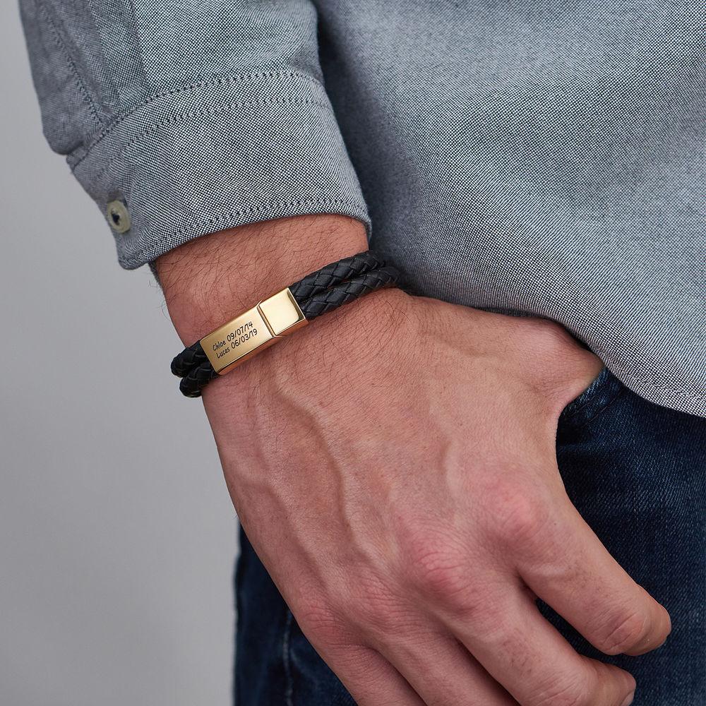 Engraved Bracelet for Men in Black Leather and Gold Plating - 3
