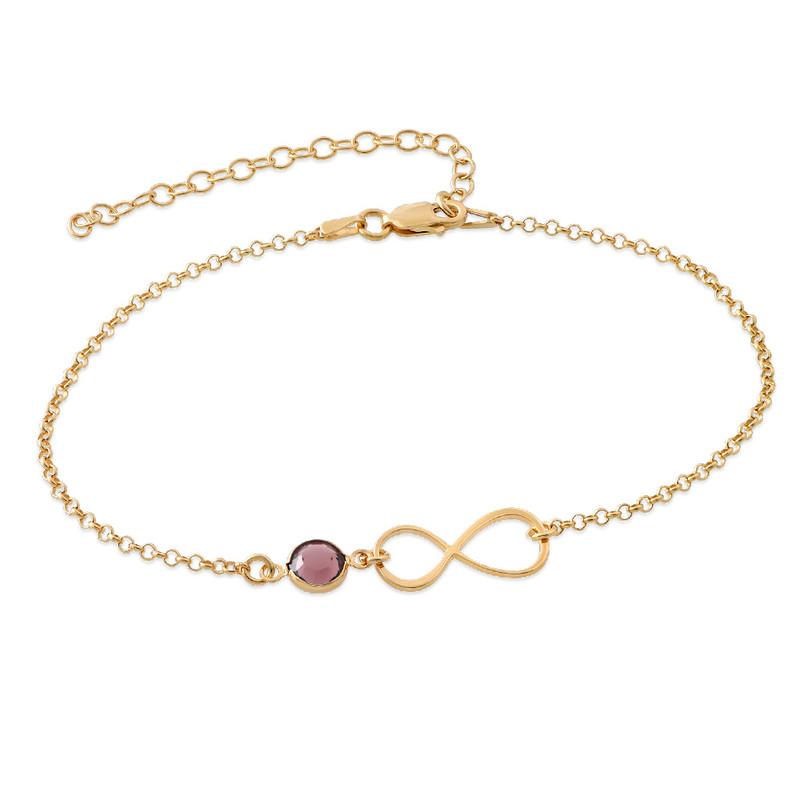 Infinity Ankle Bracelet in Gold Plating with Swarovski Stone