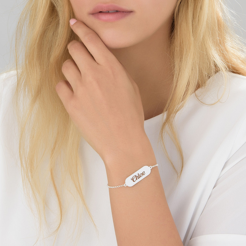 Cut out Name Bracelet in Silver - 1