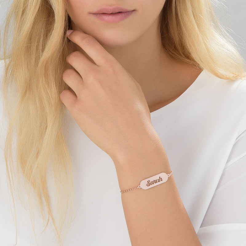 Cut out Name Bracelet in Rose Gold Plating - 1