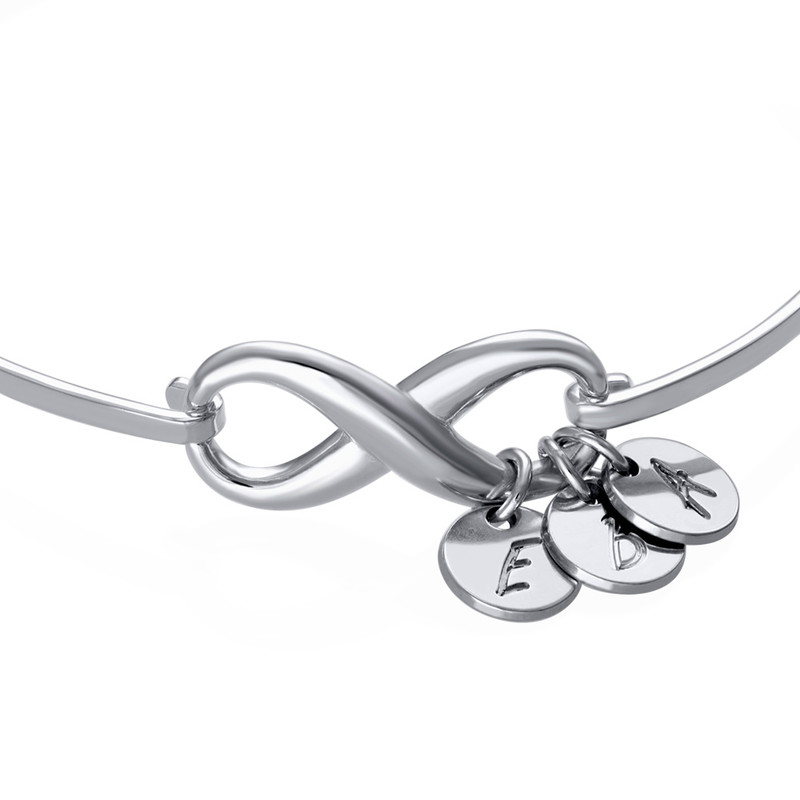 Infinity Bangle Bracelet with Initial Charms in Silver - 1