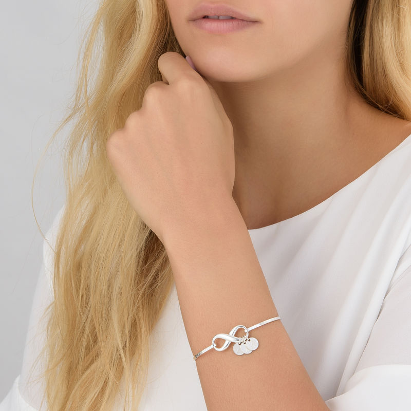 Infinity Bangle Bracelet with Initial Charms in Silver - 2