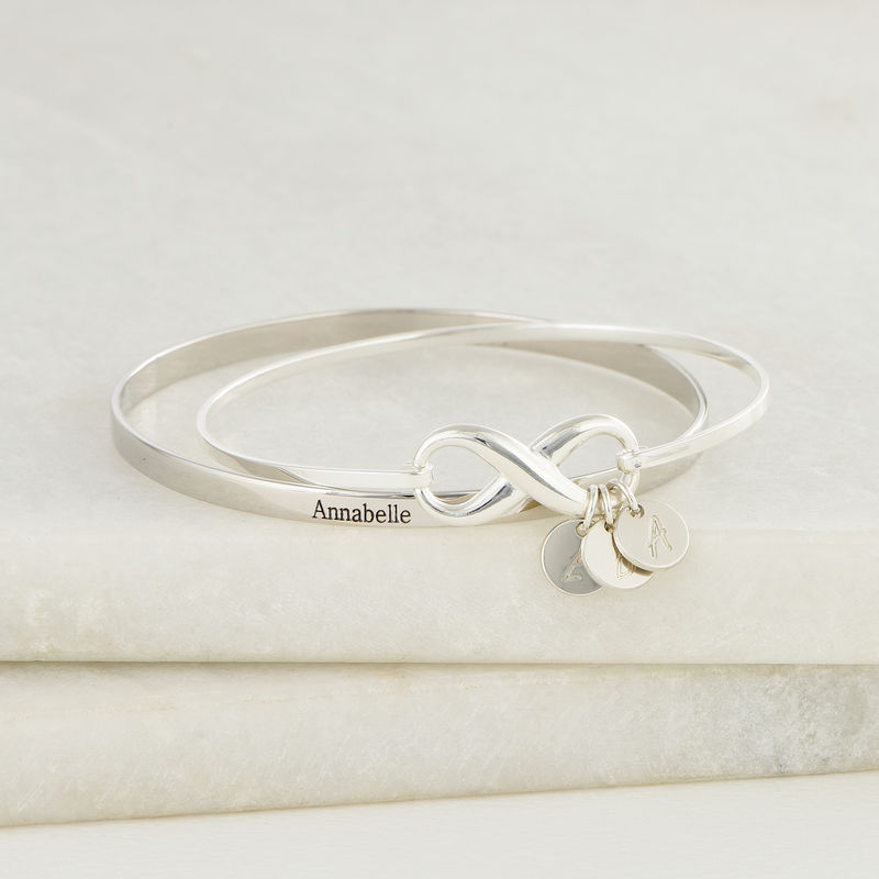 Infinity Bangle Bracelet with Initial Charms in Silver - 4