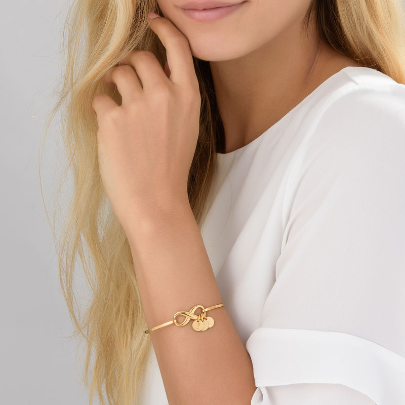 Infinity Bangle Bracelet with Initial Charms in Gold Plating - 2