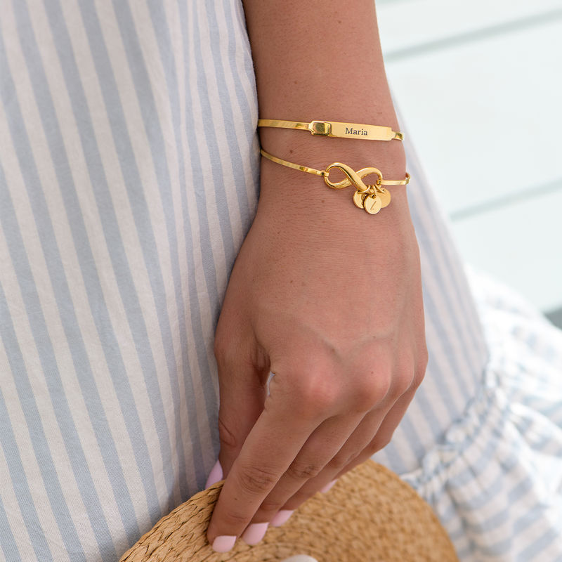 Infinity Bangle Bracelet with Initial Charms in Gold Plating - 4