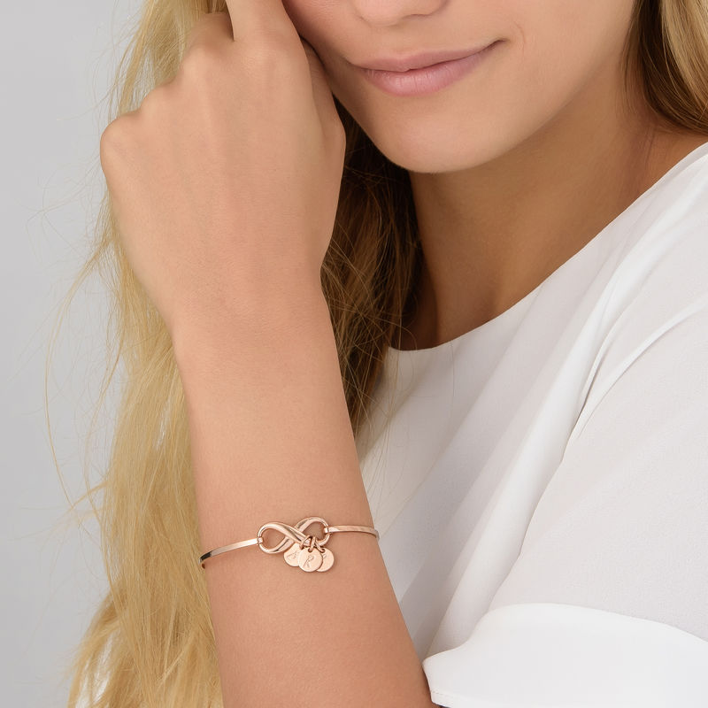 Infinity Bangle Bracelet with Initial Charms in Rose Gold Plating - 2